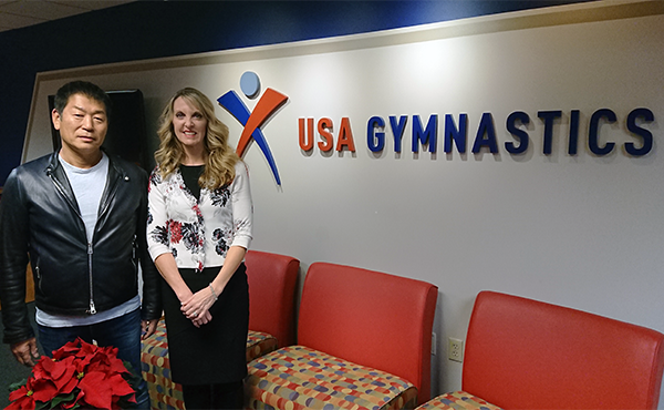 FIG President Watanabe meets new USA Gymnastics CEO Perry